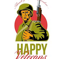 Veterans Day Greeting Card American WWII Soldier by patrimonio