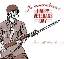 Veterans Day Greeting Card American Soldier by patrimonio