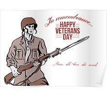 Veterans Day Greeting Card American Soldier Poster