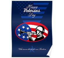 Modern Veterans Day American Soldier Greeting Card Poster
