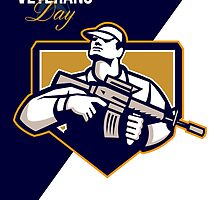 Modern Soldier Veterans Day Greeting Card Retro by patrimonio