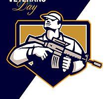 Modern Soldier Veterans Day Greeting Card Retro by patrimonio