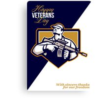 Modern Soldier Veterans Day Greeting Card Retro Canvas Print