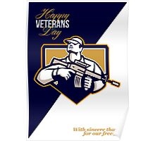 Modern Soldier Veterans Day Greeting Card Retro Poster