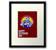 Modern Soldier Veterans Day Greeting Card Side Framed Print