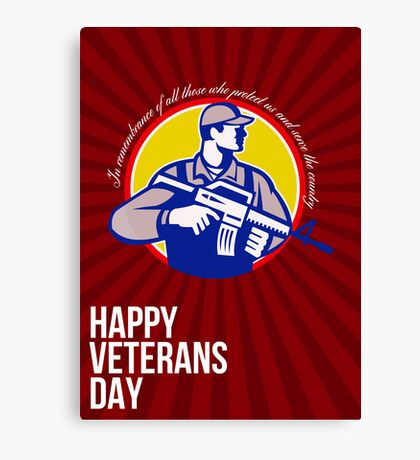Modern Soldier Veterans Day Greeting Card Side Canvas Print