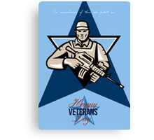 Modern Soldier Veterans Day Greeting Card Front Canvas Print