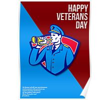 Modern Veterans Day Soldier Bugle Greeting Card Poster