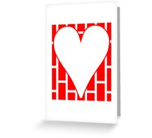 Red Vertical Bricks Background Heart Greeting Card
