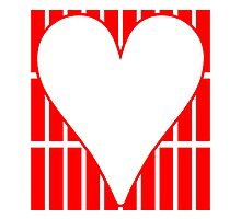 Red Vertical Bricks Background Heart by kwg2200