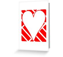 Red Diagonal Bricks Background Heart Greeting Card