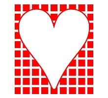 Red Squares Background Heart by kwg2200