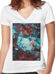 Digital Tie-Dye One Women's Fitted V-Neck T-Shirt