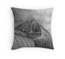 Temperate house Kew Gardens Black and White Throw Pillow