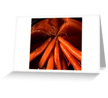 Tasty carrots in a colander  Greeting Card