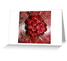 Fresh red radishes in a colander Greeting Card