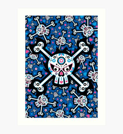 Mexican 'Day of the Dead' Skull Pattern Art Print
