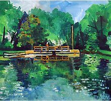Gladstone Pond with Bridge by Robert Holewinski