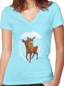 Deer Rider Women's Fitted V-Neck T-Shirt