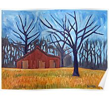 Red Barn, Blue Trees Poster