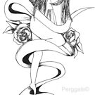 women and roses, tattoo design by Perggals© - Stacey Turner