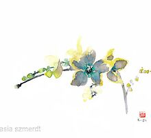 Blue Orchid Colorful flower yellow petals floral green by Johana Szmerdt
