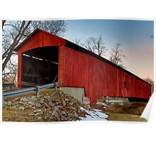 Red Covered Bridge Midwinter at Sundown Poster