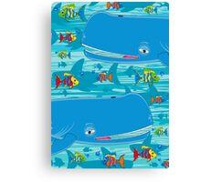 Cute Whales & Fish Canvas Print