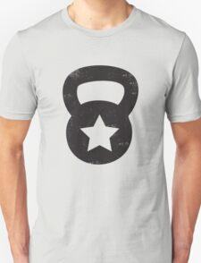 Black Grungy Kettlebell With A Star Unisex T-Shirt