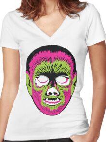 Werewolf Mask Women's Fitted V-Neck T-Shirt