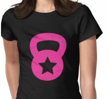 Pink Grunge Kettlebell With A Star Womens Fitted T-Shirt