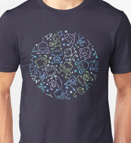 Doodle robots pattern Unisex T-Shirt