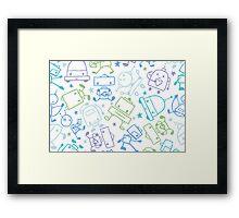 Doodle robots pattern Framed Print