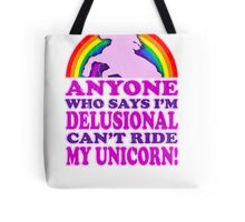 Funny Delusional Unicorn (Vintage Distressed Design) Tote Bag