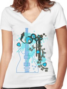GUITAR-POP TUNES Women's Fitted V-Neck T-Shirt