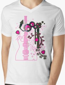 GUITAR-POP TUNES Mens V-Neck T-Shirt