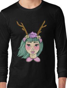 Deer Girl - Mint Long Sleeve T-Shirt