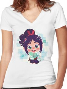 Vanellope Women's Fitted V-Neck T-Shirt