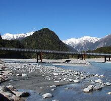 Glacial River and bridge, Franz Joseph Glacier, NZ by Catherine Davis
