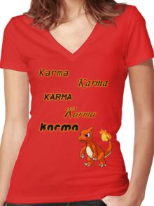 Karma is a pokemon! Women's Fitted V-Neck T-Shirt