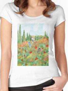 My Field Of Poppies Women's Fitted Scoop T-Shirt