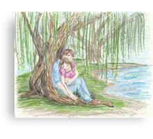 Under a Willow Tree Canvas Print