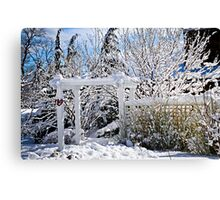 Front yard of a Toronto house in winter Canvas Print