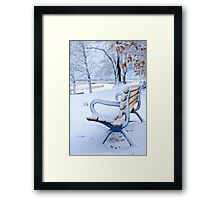 Winter bench in Toronto Framed Print