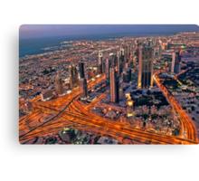 Dubai skyline, from Burj Khalifa Canvas Print