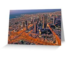 Dubai skyline, from Burj Khalifa Greeting Card
