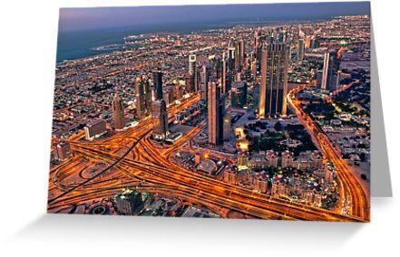 Dubai skyline, from Burj Khalifa by naufalmq