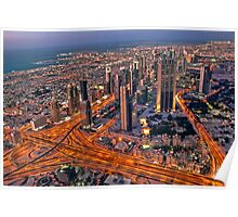 Dubai skyline, from Burj Khalifa Poster