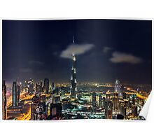 Scattered clouds passing by Burj khalifa and the downtown Dubai Poster