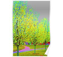 Bold Colors, Expressionistic Garden Pear Trees in Spring Poster